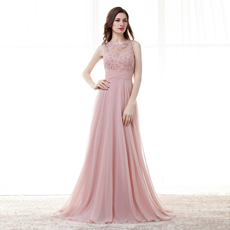 Pink A-line Chiffon Appliques Lace Beaded Open Back Long Bridesmaid Dress