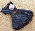 Vestidos De meninas 2013 Nova Moda Qualidade Superior Azul Escuro Curto Pontos Listra luva Flor Crianças Vestido Da Menina com Cinto summe 2-7A