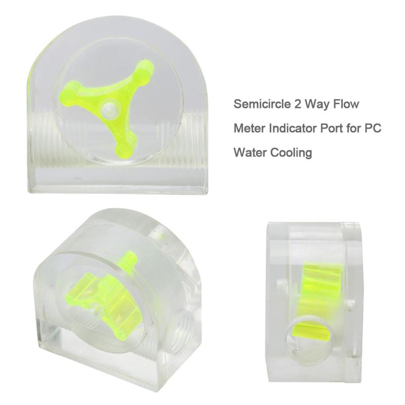 ALLOYSEED PC Water Cooling 1pc Acrylic Semicircle Waterproof Sealing 2 Way Flow Meter Indicator Port Cooling System Kit for PC water cooling flow meter acrylic 2 and 3 ways g1 4 speedometer thread with no joints cooling kit fittings