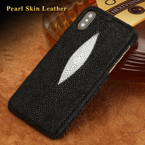 Image 5 - Genuine Stingray leather Case for iphone 11 Pro max XS MAX XR XS X 6 6S 7 8 plus Luxury leather Handmade Craft Custom Back Cover