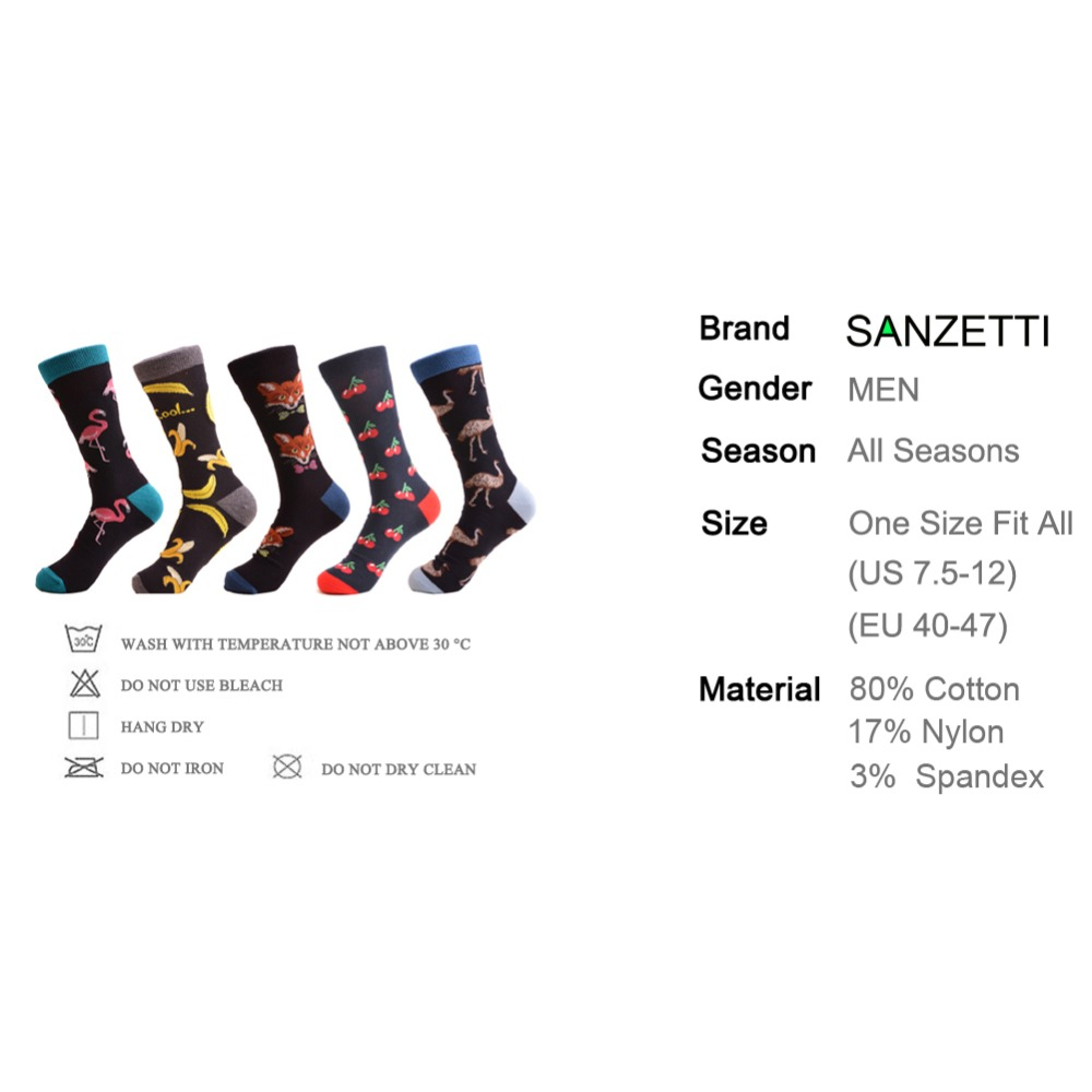 SANZETTI 5 Pairs/Lot Hot New Arrival Mens Combed Cotton Casual Dress Wedding Socks Funny Banana Cherry Pattern Crew Happy Socks