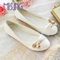 New women's fashion shoes Female Ballet Shoes Metal decration Round Toe Flats Shoes Solid Cute Lazy Casual Shoes for women