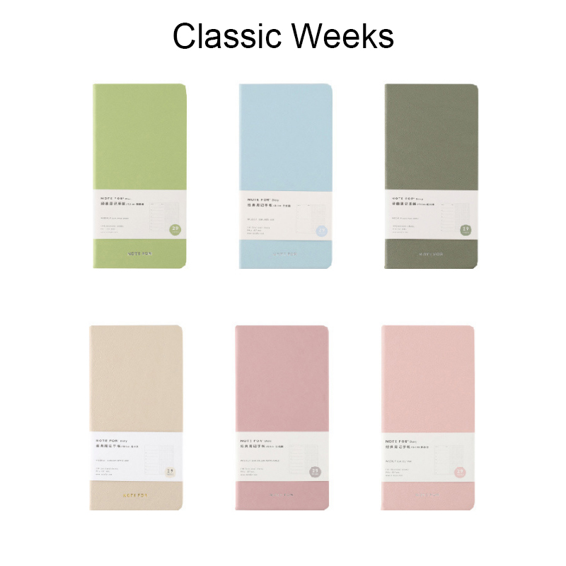 Candy Color Leather Cover Classic Weeks Planner Diary For Half Year Weekly Monthly Yearly Plan Schedule Book School Stationery