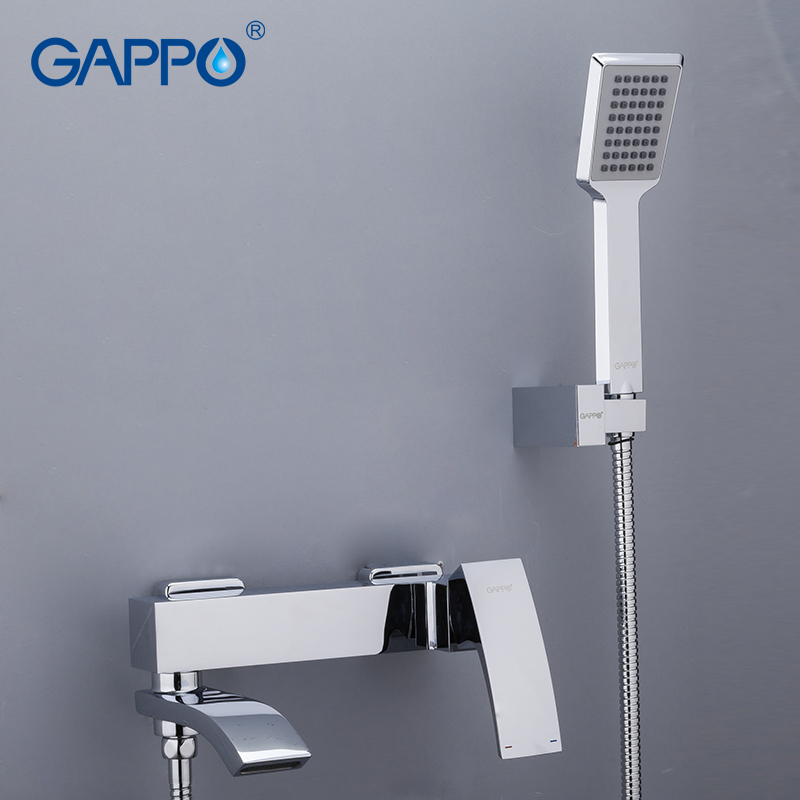 Gappo chrome brass home shower faucets bath shower waterfall shower heads chrome mixer water tap bathroom shower set(China)