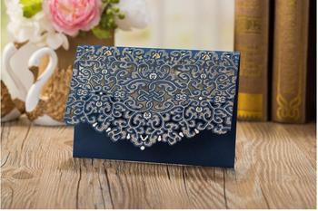 Free Shipping 50PCS/LOT European Style Dark Blue Wedding Invitation Card With Envelope Can Printing