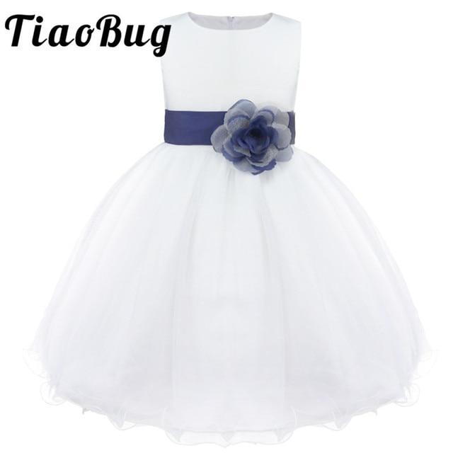 מותג חדש 9 צבעי TiaoBug באורך הברך פורמליות שמלות ילדה פרח לחתונה נסיכת ילדה תחרות ראשית הקודש בנות 2 14Y
