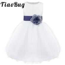 TiaoBug Gloednieuwe 9 Kleuren Knielange Formele Flower Girl Trouwjurken Prinses Meisje Pageant Eerste Communie Jurk 2 14Y