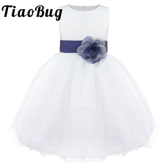 Tiaobug真新しい9色膝丈フォーマルフラワーガールドレスウェディング王女女の子ページェント初聖体ドレス2 14y