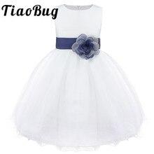 Tiaobug 브랜드 새로운 9 색 무릎 길이 공식적인 꽃의 소녀 드레스 웨딩 공주의 여자 미인 대회 첫 성찬식 드레스 2 14y