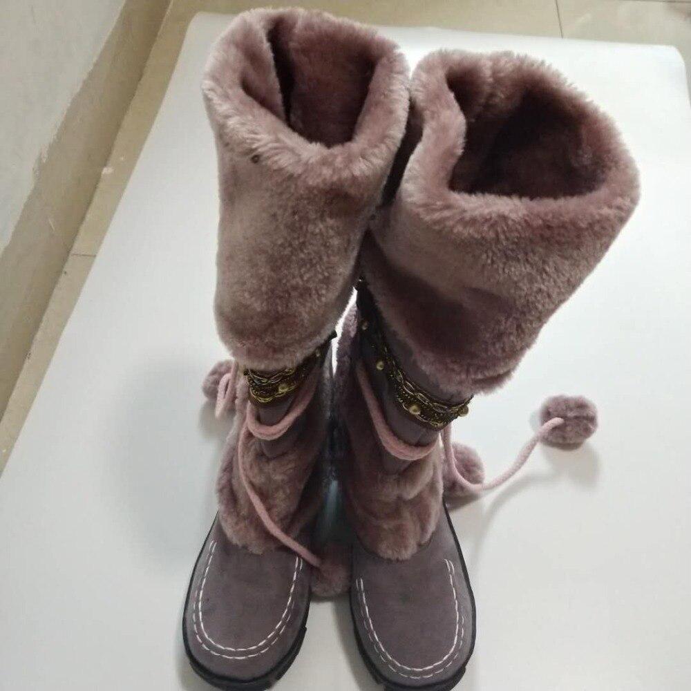 Engrosada 35 Nieve 43 Mujer 2019 Caliente Piel De Biege purple Zapatos Moda Nuevo Tacón black Largo mud Martin Alto Sexy Tamaño Botas Invierno wqTxn0qCU