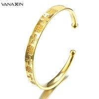 VANAXIN 2017 925 Gümüş Moda Takı Manşet Bileklik Bilezik Kadınlar için Klasik Tasarım Yüksek Kalite Siyah/Altın Renk Mücevherat