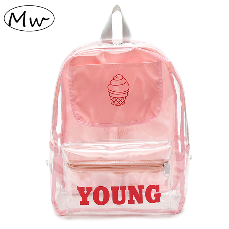 Moon Wood Women Candy Transparent Backpack 2019 Summer Printed Ice Cream Beach Bag Girls School Bag Large Capacity Travel Bag