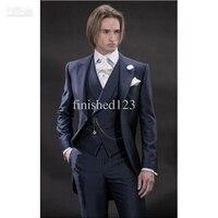2016 New Design Morning style Navy Blue Groom Tuxedos Groomsmen Men's Wedding Suits Best man Suits (Jacket+Pants+Vest+Tie)