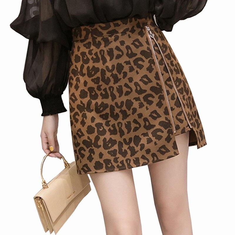 2019 Autumn & Winter Temperament Fashion Zipper Leopard Women's Skirt High Waist Slim A Word Skirts Women All Match Mini Saia