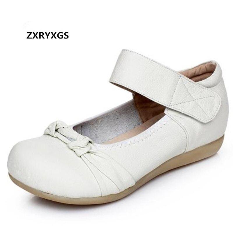 2019 date unique lâche confortable en cuir de vachette souple chaussures femmes chaussures plates à la mode chaussures décontractées blanc Bow femmes appartements
