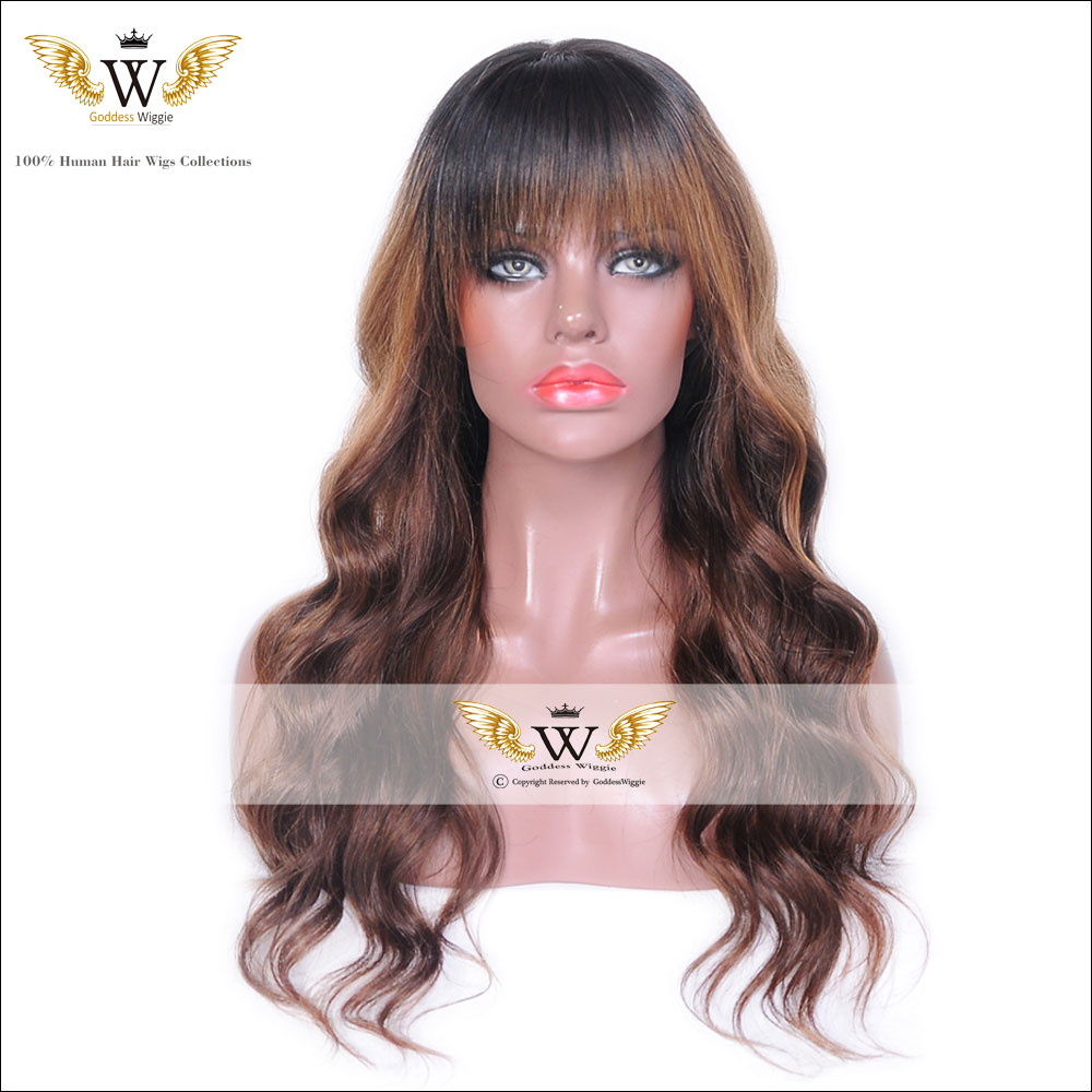 5a Glueless Human Hair Blonde Ombre Body Wave Lace Front