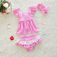 Baby Swimsuit 2 8 Years Old Girl Swimwear Pink Bow Stripe Children Bathing Suit Children Skirt Two Pieces of Student Swimsuit