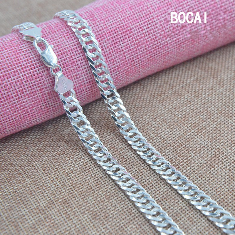 S925 pure silver shuangkou necklace Men with their horses neck chain han edition male handsome joker Taobao sell цена