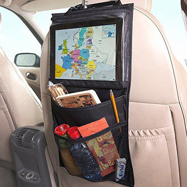 Poliéster negro + fibra de PVC impermeable niños viajes iPad bolso colgante Almacenamiento asiento de coche cubre