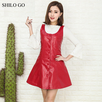 SHILO GO Leather Dress Womens Spring Fashion sheepskin genuine Leather spaghetti strap single breasted vintage A Line dress