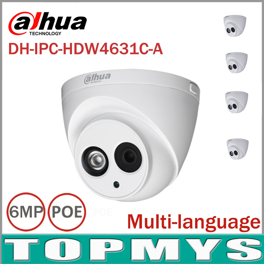 4pcs Dahua IPC-HDW4631C-A 6MP IP Camera Built-in MIC IR 30m IP67 network dome Camera HDW4631C-A with poe multi-language firmware dahua 6mp ip camera ipc hdw4631c a poe network camera with built in micro upgrade model of 4mp camera ipc hdw4431c a