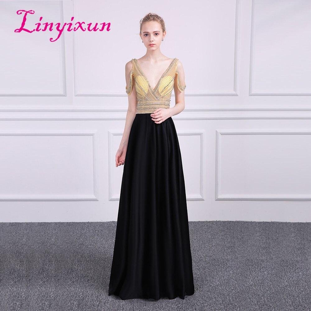 Linyixun Sexy A-Line Black   Prom     Dress   2018 Long V Neck Sleeveless Beaded vestidos de fiesta Formal Evening Gown Custom Made