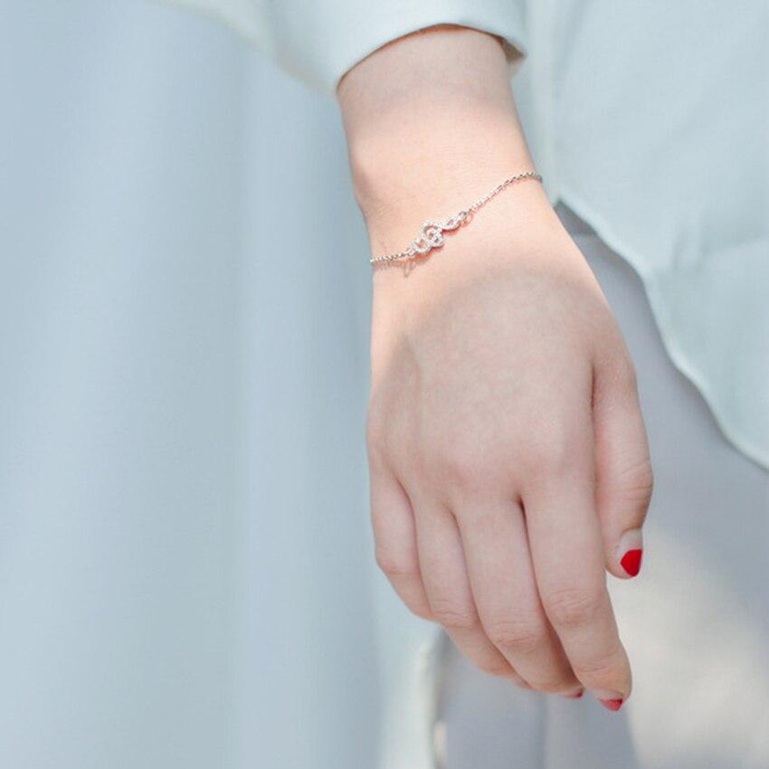 Kinitial 1Pcs 925 Sterling Silver Music Symbol Narukvice za žene CZ - Modni nakit - Foto 6