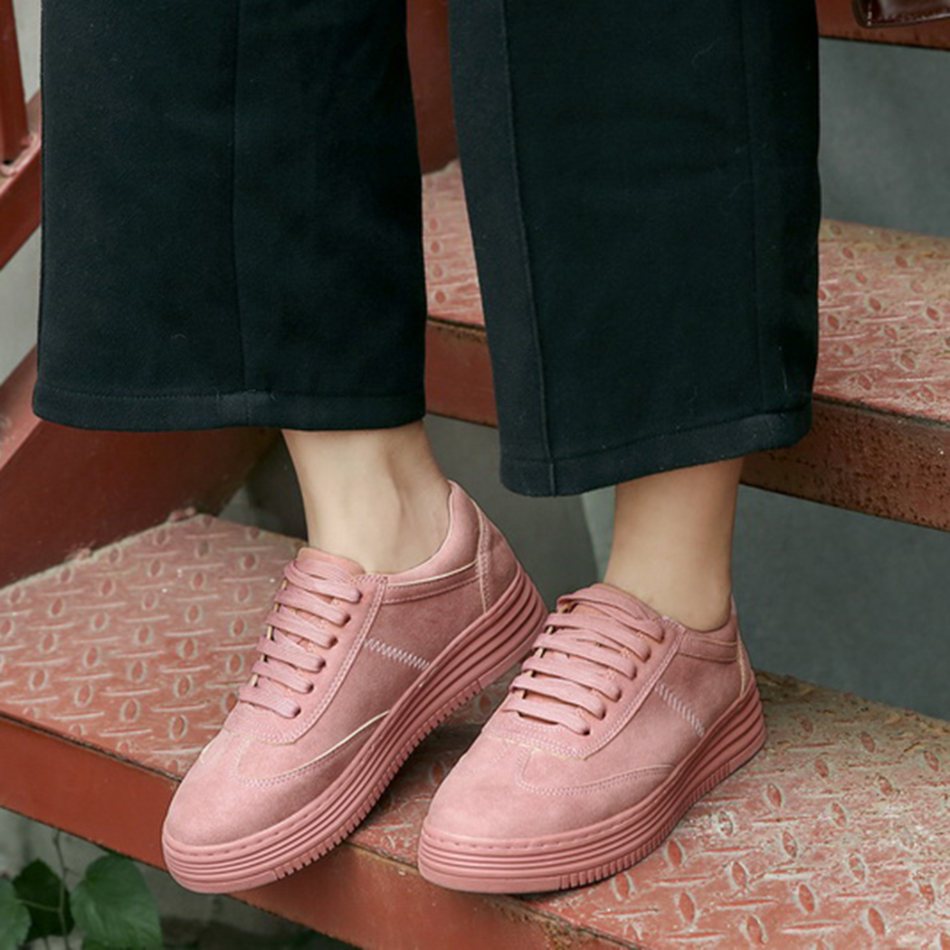 2018 Fashion Genuine Leather Platform Vulcanize Shoes Women Sneakers Creepers Street Style Shoes for Women Lace Up Shoes