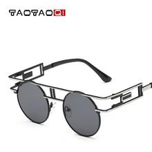 TAOTAOQI Brand Women Metal Round Sunglasses Designer Personality Decorative Mirror Leg Sun Glasses Men UV400 Female oculos