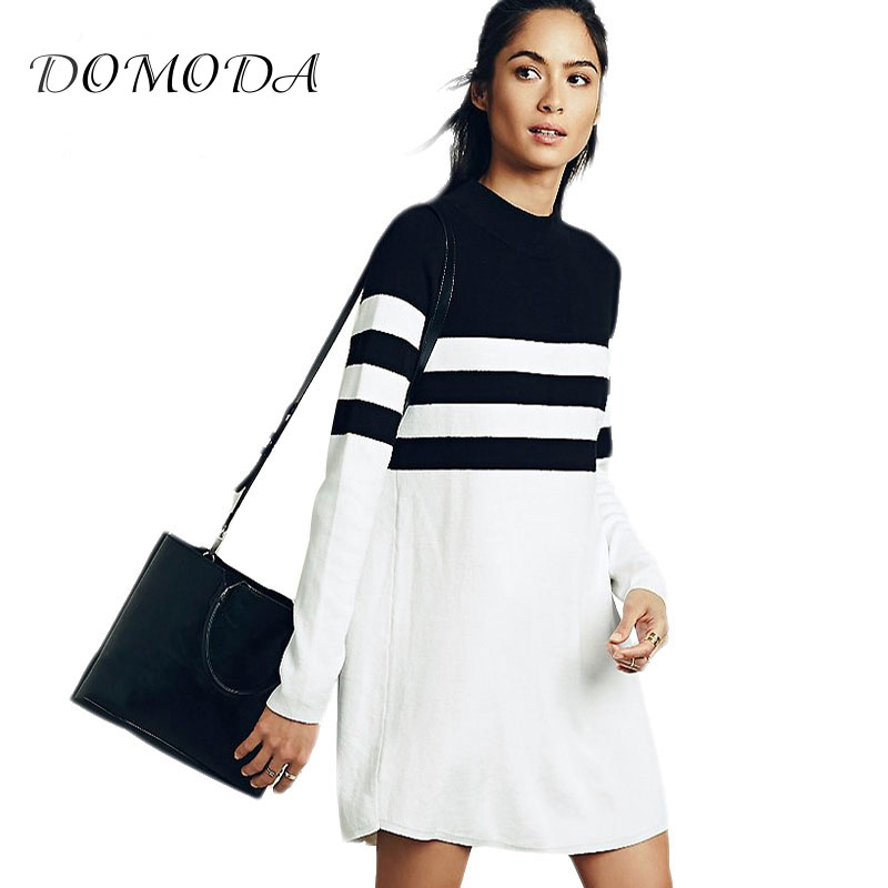 DOMODA 2017 Mode Longue Ligne Femmes Robe Manches Longues Street Style Banlieue Mini Robe Féminine Bande Casual Robes