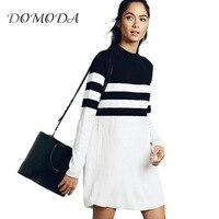 Domoda 2017 модные длинные линии Женщины платье Длинные рукава уличный стиль пригородных мини платье Женский в полоску повседневные платья