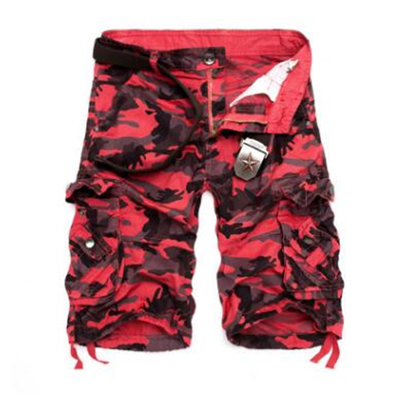 Men Camouflage Cargo Shorts 2018 New Brand Male Army Loose Cargo Pants Men Casual Work Short Pants Plus Size No Belt