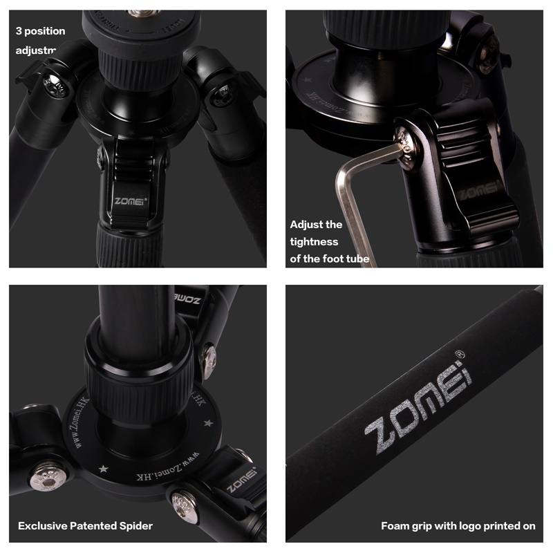Zomei Z888C Professional Portable Carbon Fiber Tripod Stand with Ball Head Compact Travel -4