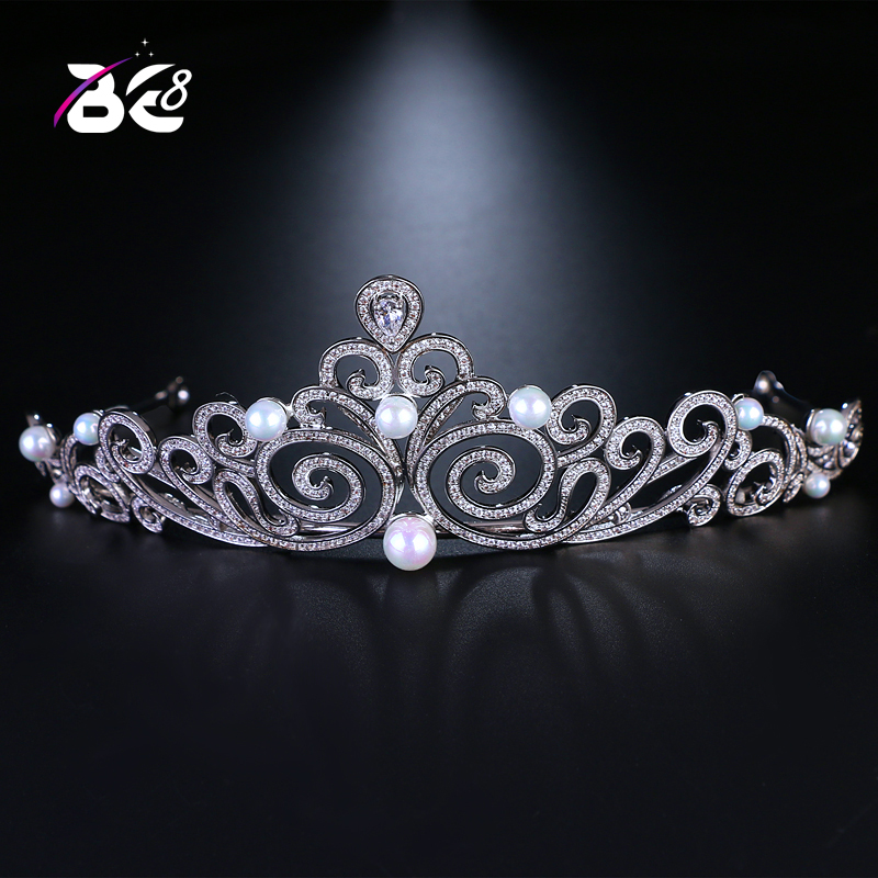 Be 8 2018 New Pearls CZ Wedding Crowns Girls Beauty Pageant Luxury Weddings and Tiaras Headbands