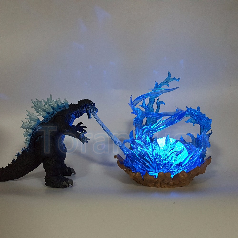 цена Godzilla Action Figure Cannon Power Blue Fire Led Light DIY Display Toy Anime Movie Godzilla Collection Model Doll DIY115