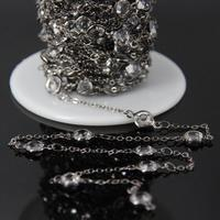 6mm,Clear Glass Crystal Faceted Coin bead Link Chain,Gun black Plated Tone Wire Wrapped With Glass Round Cut Slice Rosary Chain
