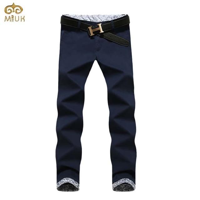 Plus Size Cotton Men Pants 40 38 Brand Clothing 7Colors Black Straight Pants Khaki National Style Pantalones Hombre 2017 New