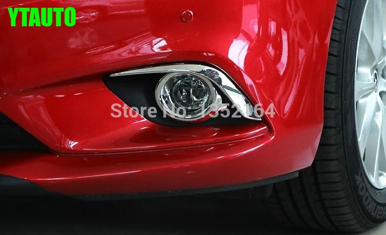 Araba kafa sis lambası kapağı, otomatik ön sis lambası Mazda 6 atenza 2014 2015 için düzeltir, ABS krom, 4 adet / grup, ücretsiz kargo