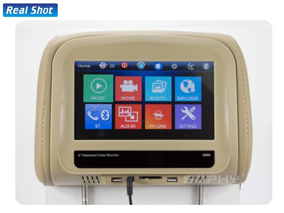 Новинка! 8 дюймов автомобильный подголовник монитор MP4/MP5 видео плеер подушка монитор с ик FM сенсорный экран телефон зарядка SH8068-P5