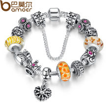 BAMOER Queen Jewelry Silver Charms Bracelet & Bangles With Queen Crown Beads Bracelet for Women PA1823