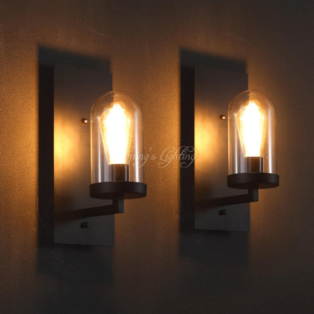 Nordic Loft Industrial Living Room Glass Shape Hotel Corridors Aisle Wall Light Retro Pub Cafe Wall Lamp Hallway Light Lighting vintage loft industrial edison flower glass ceiling lamp droplight pendant hotel hallway store club cafe beside coffee shop