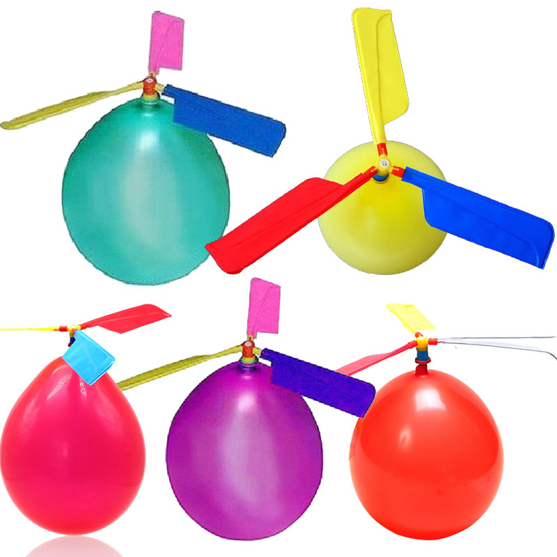 10Pcs Set Balloons Helicopter Flying With Whistle Children Outdoor Playing Creative Funny Toy Balloon Propeller Kid Toys FJ88