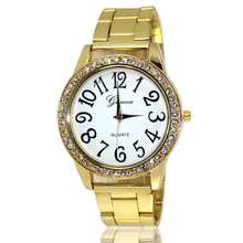 1 unid señora de las mujeres relojes de pulsera relojes de Pulsera de Cuarzo ronda gran número de forma analógico de acero inoxidable regalo de Navidad de vidrio H4