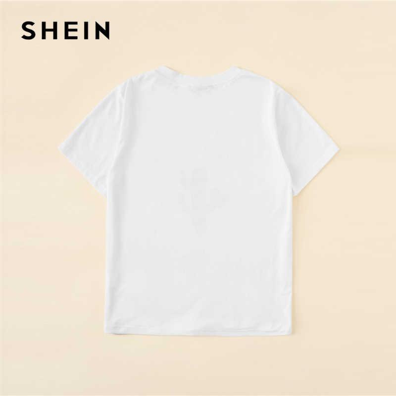 Camiseta Casual con estampado de letras y Cactus blanco SHEIN para mujer 2019 verano manga corta cuello redondo camisetas