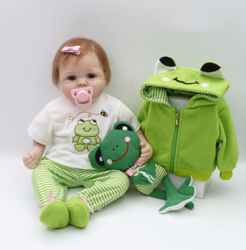 Pursue 22/56 cm Adora Frog Dress Silicone Reborn Baby Dolls Toys for Sale Cloth Cotton Body Silicone Limbs Doll Toys for Girls 2016 hot sale 45cm frog superme dolls pose frog doll plush toys sesame street stuffed animal plush frog 70cm frog for gift