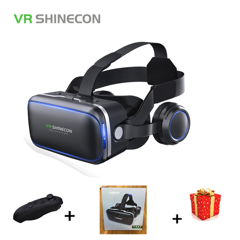 Shinecon Casque VR Box Virtual Reality Glasses 3 D 3d Goggles Headset Helmet For Smartphone Smart Phone Google Cardboard Stereo vr shinecon sc g02e vr glasses with headphones 3d virtual reality glasses box pro cardboard box for 4 7 6 inch smart phone