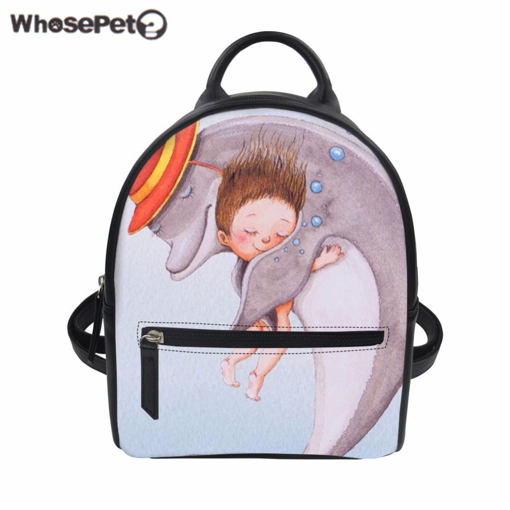 WHOSEPET Women Backpack Cartoon Whale Print PU Leather Bag Mini School Backpacks for Teenager Girls Female Bolsa Ladies Mochila zooler women s backpack eyes sequined designer black cartoon eyes backpacks travel bag cute shell backpacks for teenager girls