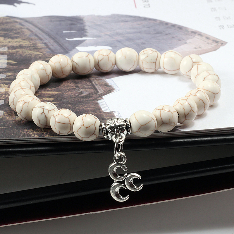 Fashion Pendant Elasticity Bangles Silver Moon Natural Stone Beads Bracelets For Women Lovers Romantic Jewelry Charm Accessories