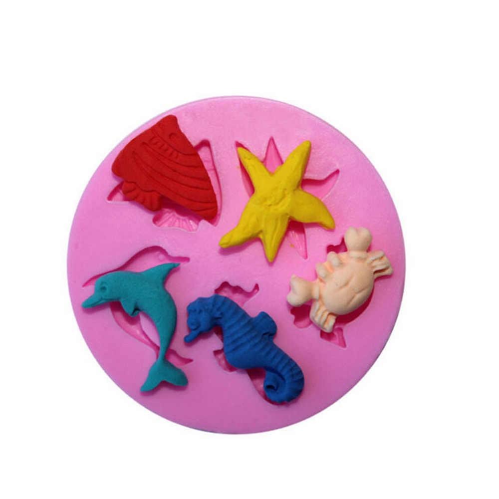 1PC mały rozmiar silikonowe ciasto Sugarcraft formy mydło kremówki formy czekoladowe morze plaża ryby rozgwiazda delfin krab formy akcesoria do ciast