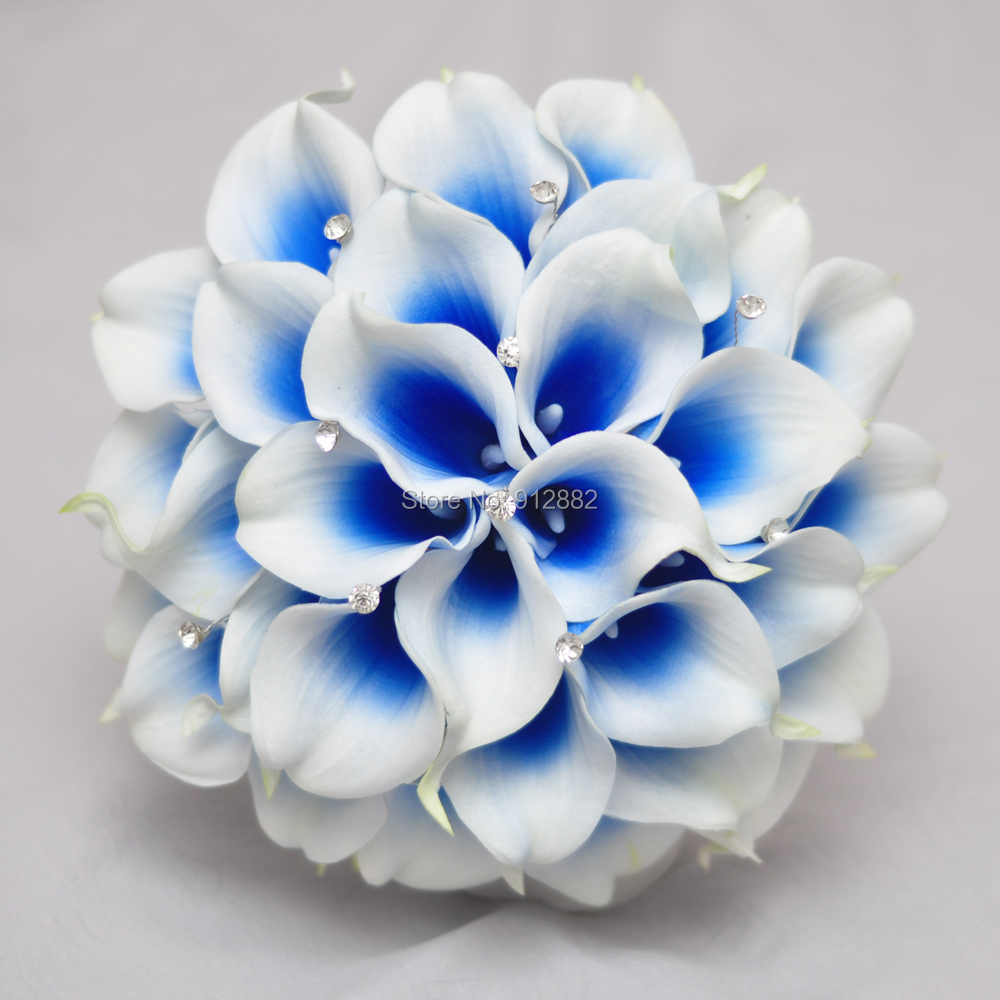 2018 New Design Royal Blue Calla Lily Flower Arrangement For Wedding